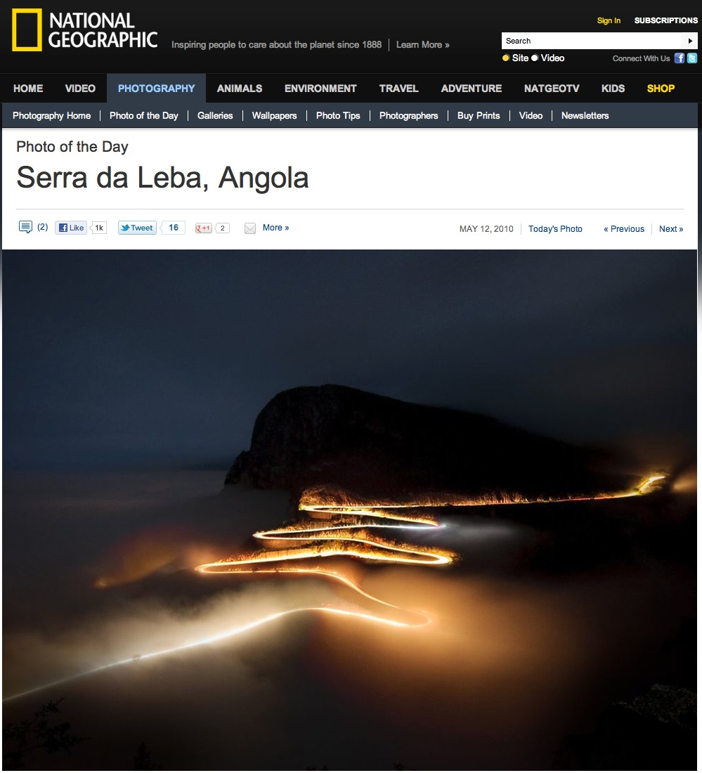 National Geographic, Photo of the day, night shot of Serra da Leba